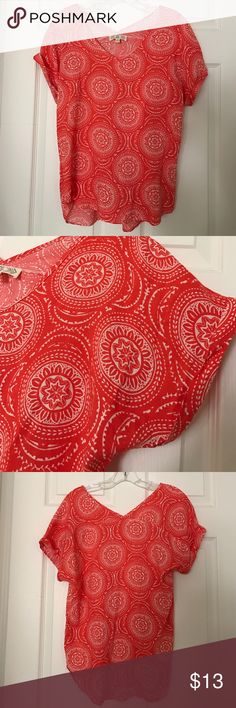 Pink Rose coral printed top All over coral top with all over print. Flowy boho fit, super soft thin material, low v neck in front & vneck in back as well. Sleeves have large low openings and are folded over. Some black marks on top, shown in detail in pictures. Pink Rose Tops