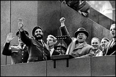 Fidel Castro in the USSR, 1963, with Nikita Khrushchev, Plaza Roja, Moscow; photo © Seymour Raskin / Magnum Photos.