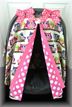 FLANNEL carseat canopy car seat cover owls blue by JaydenandOlivia, $39.99