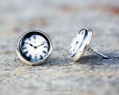 Clock Post Earrings Black & white Fun Jewelery Free by MADEbyMADA, $15.00