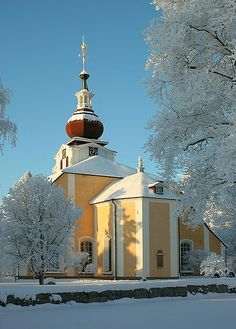 Snow in Leksand Church, Sweden. The location of my future hypothetical wedding