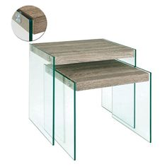 Olymp Dark Oak Nest Of Tables With Side Glass Panels