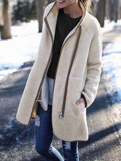 aefbb8ed28 Casual Polyester Coats White High Neckline Off-white Zipper Pockets Long  Long Sleeve S M L XL Coats