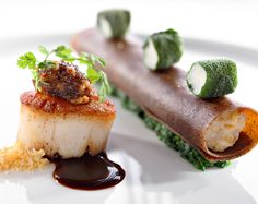 Seared scallops, porcini butter and cannelloni…