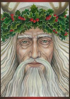 """The Holly King""- A blank greeting card from the original painting by Emily Balivet, 2010. The card measures 5x7 and is printed on acid free, archival quality smooth, matte stock...Perfect for framing, too!"