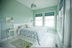 Like the sea foam green wall color
