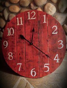38 Inch Farmhouse Clock Rustic Wall Clock by RustyStarSignCompany