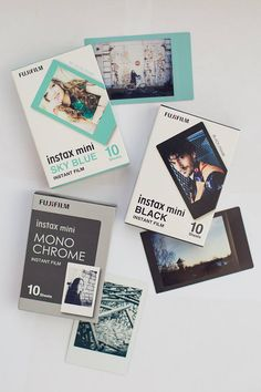 Bilder Instax Mini Film Set - Monochrome, Sky Blue and Black Frames. Click and get your new film set Instax Mini Ideas, Instax Mini Album, Instax Film, Instax Mini Camera, Instax Mini Film, Fujifilm Instax Mini, Pink Polaroid Camera, Polaroid Photo Album, Polaroid Pictures