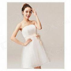 Cheap Woman Brief Paragraph Bridal Gowns Dress - White (XL) #bridalDress