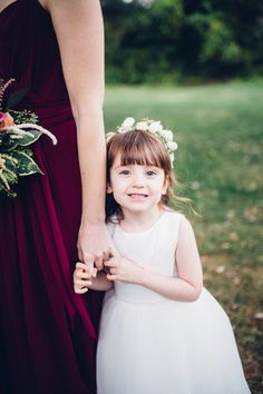 Wedding flower girl, white flower crown, white dress, repin to your own inspiration board // Analog Wedding