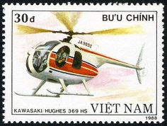 Sello: Kawasaki Hughes 369 HS (Vietnam) (Helicopters) Mi:VN 2018