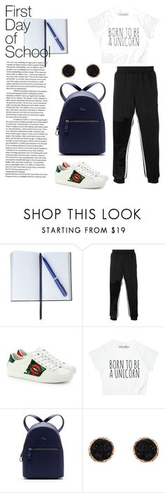 """""""First Day of School"""" by windrasiregar on Polyvore featuring Smythson, Gucci, Lacoste and Humble Chic"""