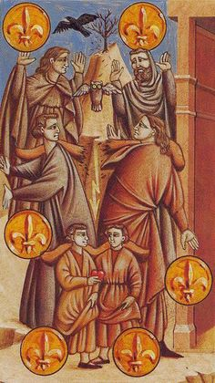 Six of Coins - Giotto Tarot by Guido Zibordi
