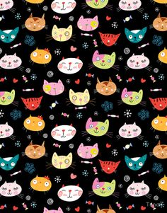 Tanor — Pattern with funny portraits of cats (626x800)