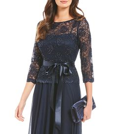 Emma Street 3/4 Sleeve Boat Neck Beaded Lace Long Gown Mob Dresses, Blue Bridesmaid Dresses, Tea Length Dresses, Event Dresses, Short Dresses, Dress Brokat, Mother Of Groom Dresses, Gowns With Sleeves, Beaded Lace