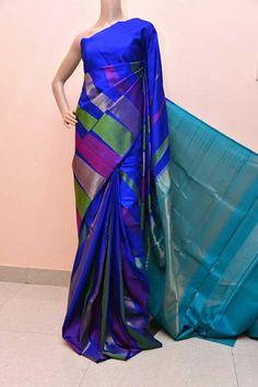 Indian Sarees, Silk Sarees, Saree Trends, Indian Outfits, Indian Clothes, Kanchipuram Saree, Elegant Saree, Hand Designs, Shades Of Blue
