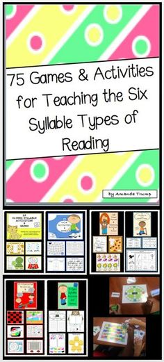 The bundle packet includes 75 games and activities that all target teaching the 6 types of syllables in reading: Closed Syllables, V-C-e Syllables, r-Controlled Syllables, Open Syllables, Vowel Digraph & Diphthong Syllables, and Final Stable Consonant Syllables. These 65 activities/games can be placed in language stations, or they can be played during small groups. So enjoy as your students learn another way to break the code to reading!