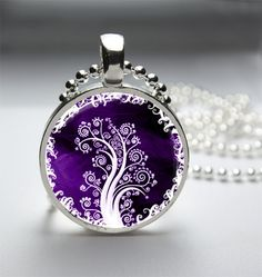 Circle Glass Bezel Pendant Purple and White by HipsterDesigns, Etsy