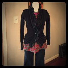 Etro Milano Black cardigan, size 40 High ruffle neckline with 3 different materials and jewel like buttons. Quite stunning cardigan. Thanks for looking. Price is negotiable- just click the Öffer button. Preloved. Etro Sweaters Cardigans