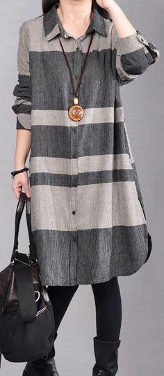 stylish gray pure linen dresses plus size linen clothing dresses