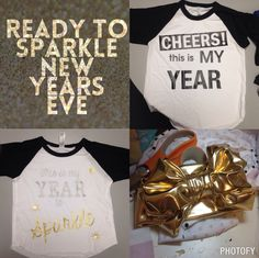 Baby,toddler, kids and adult New Year's Eve outfits and shirts. These pictures don't do the sparkle shirts justice. Order now at Facebook.com/sparklebowtique