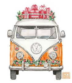 Watercolor VW Van / Christmas / watercolor painting / Etsy K. Berrigan Art www.kberriganart.com