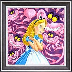 Disney Alice in Wonderland ''Cheshire Way'' Giclée by Tim Rogerson | Disney StoreAlice in Wonderland ''Cheshire Way'' Gicl�e by Tim Rogerson - Far from being invisible, the Cheshire Cat is all too visible as he appears multiple times behind Alice in ''Cheshire Way.'' Created by artist Tim Rogerson, this limited edition gicl�e on canvas is framed and hand signed.
