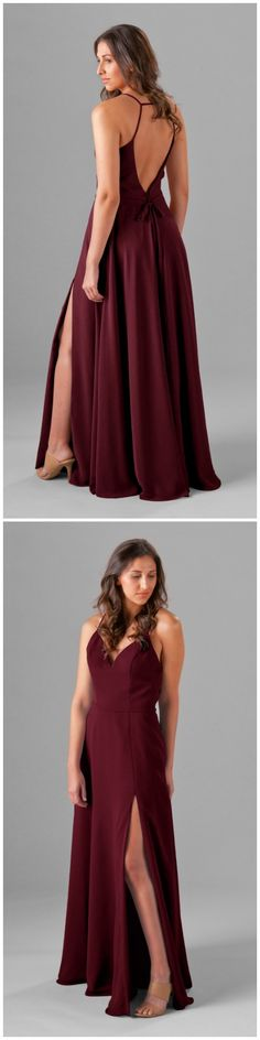 Show a little back with this long chiffon bridesmaid dress featuring a spaghetti strap neckline and strappy, open back! Available in 20+ colors. Featured in Bordeaux. | Kennedy Blue Elizabeth