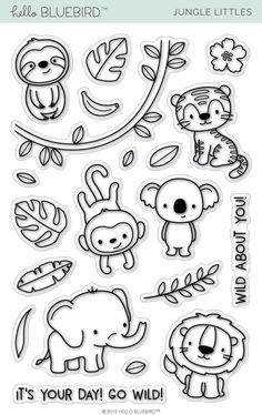Jungle Littles Stamp Jungle Littles – Hello Bluebird, LLC Animal Doodles, Jungle Pattern, Tampons Transparents, Diy Scrapbook, Digital Stamps, Clear Stamps, Animal Drawings, Doodle Art, Easy Drawings