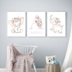 Elephant Nursery Decor, Nursery Room, Nursery Wall Art, Girl Nursery, Girl Room, Baby Room, Baby Name Art, Baby Names, Elephant Print