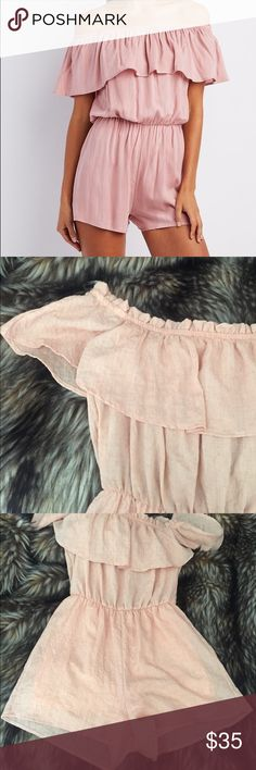 "Emory Park Off Shoulder Ruffle Shorts Romper Peach This is a perfect summer Romper from Emory Park. Size medium. Elastic waist. Shorts are lined. Made of 100% rayon. Waist 26"" rise 12"" inseam 2.5"". Light Peach textured fabric. New condition. Urban Outfitters Pants Jumpsuits & Rompers"
