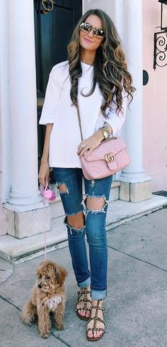 casual style addict top + bag + rips