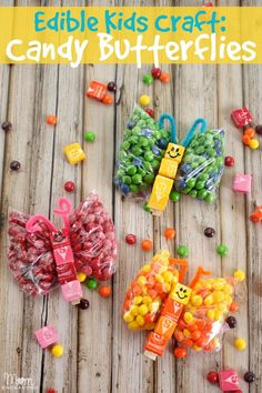 Sweet edible kids craft: Candy Butterflies - cute for parties, gifts, etc. Kids Crafts, Summer Crafts, Holiday Crafts, Crafts To Make, Arts And Crafts, Edible Crafts, Food Crafts, Edible Art, Caterpillar Craft