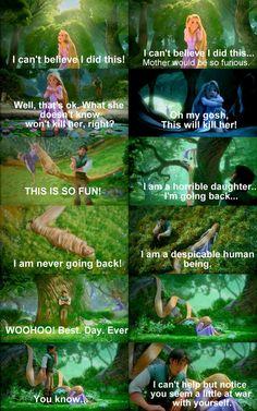 Tangled - Repunzel and Flynn Rider funny scene. Disney Pixar, Film Disney, Disney And Dreamworks, Disney Songs, Humor Disney, Disney Quotes, Flynn Rider, Disney Love, Disney Magic