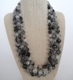 Quartz Black White Tourmalinated Faceted Round Triple Sparkling Gift Fashion Unique. $52.00, via Etsy.