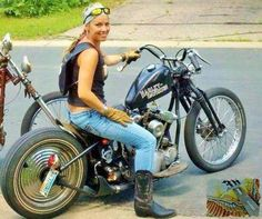 Harley Girl In Cowboy Boots on HardTail Knucklehead …