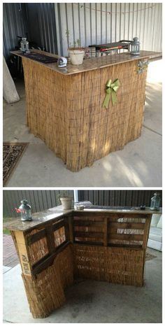 Two pallet bar that I made a while back with my friend one lazy afternoon. The top is the doors of an old wardrobe with some fencing stuff I bought from a