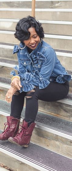 Denim Jacket, Black Jeans, Jean Jacket, Bows