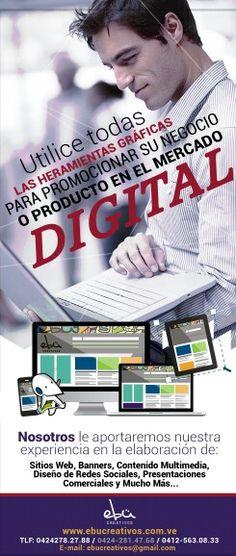 En www.ebucreativos.com.ve Le ofrecemos nuestro servicio especializado en la elaboración de: diseño de material impreso, digital y rediseño de la identidad corporativa de sus redes sociales. Promueva la imagen de su empresa, negocio o proyecto, con un diseño gráfico profesional, enfocado en las nuevas tendecias.