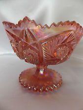 Vintage L.E. Smith Hobstar Carnival Glass Pink Pedestal Compote Dish