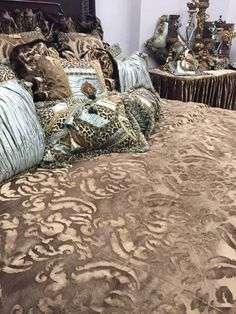 Reilly Chance Collection Luxury Bedding, Draperies and Accessories. Visit the website for Sales Events! Bedding And Curtain Sets, Comforter Sets, Home Bedroom Design, Bedroom Decor, Large Beds, Linens And More, Beautiful Bedrooms, Romantic Bedrooms, King Beds