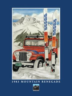 """Colored Pencil: """"1983 MOUNTAIN RENEGADE"""" - Original art by Dave Petersen - Giclee print on heavy textured archival paper (to be trimmed down to 18"""" x 24"""") available for purchase -- message me if interested. Price is $121 -- shipping is included."""