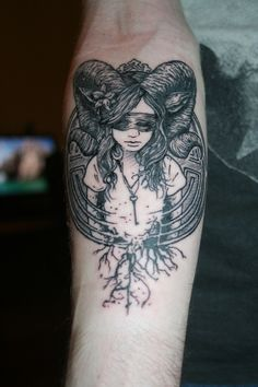 Forearm Tattoo, Girl with Ram Horns, Sick Detailing