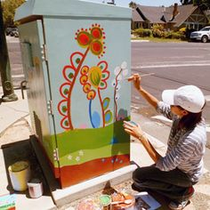 The Art Box Project is an ongoing project that allows local artists contribute to the cityscape with decorative paintings on utility boxes throughout San Jose. Urban Street Art, Urban Art, Decorative Paintings, Cable Box, Mini Paintings, Painted Boxes, Local Artists, San Jose, Public Art