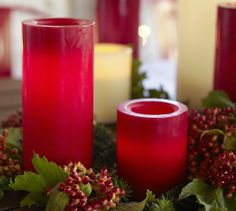 Flameless Wax Candle - Red   Pottery Barn