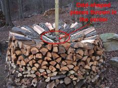 Round woodpile in progress - Holz Hausen!