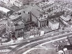 Aereal view of High Street, Dublin all of the terrace in front of St Auden's Catholic Church has now disappeared Dublin Street, Dublin City, Dublin Ireland, Ireland Travel, Old Pictures, Old Photos, Street View, Irish, Cathedrals