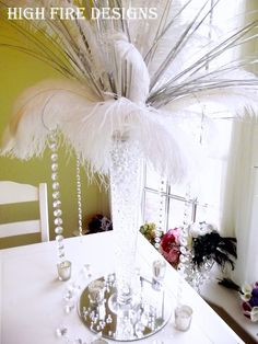 feather centerpieces :)