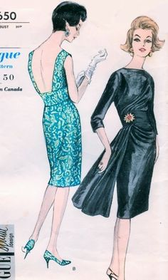sewing retro patterns Stunning Cocktail Party Evening Slim Dress Pattern Vogue Special Design 5650 Draped Bodice Hip Drapery Bateau Neck Very Low or High Back Bust 32 Vintage Sewing Patterns - Vogue Dress Patterns, Evening Dress Patterns, Vintage Vogue Patterns, Dress Making Patterns, Clothing Patterns, 1960s Fashion, Fashion Sewing, Vintage Fashion, Fashion Fashion
