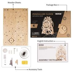 ROKR DIY Wooden Puzzle Mechanical Gear Drive Pendulum Clock Assembly Model Building Kit Toys for Children Adult Diy Spa, Wooden Clock Kits, Mechanical Gears, Puzzle Crafts, Model Building Kits, Model Kits, Building Toys, Pendulum Clock, Timer Clock